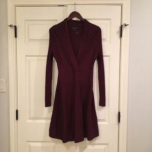 INC Burgundy Ribbed Knit Dress L